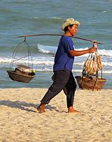Cha-Am Strand Fischverkäufer